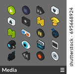 isometric outline color icons ...