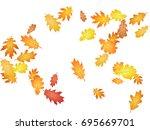 oak leaves flying confetti... | Shutterstock .eps vector #695669701