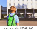 little boy with backpack go to... | Shutterstock . vector #695671465