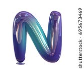 letter n. vivid violet   blue... | Shutterstock . vector #695673469