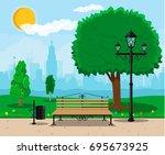 city park concept  wooden bench ... | Shutterstock . vector #695673925