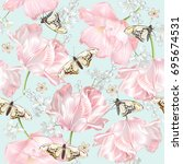 vector seamless pattern with... | Shutterstock .eps vector #695674531