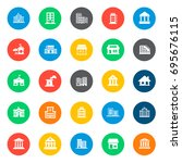 building icons in colorful... | Shutterstock .eps vector #695676115