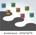 milestone  timeline  step by... | Shutterstock .eps vector #695676379