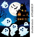 ghosts near haunted house theme ...   Shutterstock .eps vector #695680819