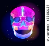 bright human skull over dark ... | Shutterstock .eps vector #695683159