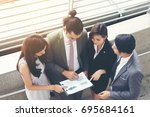 business teamwork with document ... | Shutterstock . vector #695684161