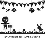 black and white background... | Shutterstock .eps vector #695684545