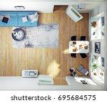 top view of the modern room. 3d ...   Shutterstock . vector #695684575