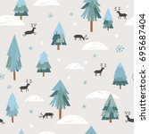seamless christmas pattern  | Shutterstock .eps vector #695687404