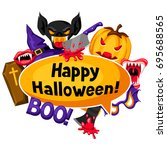 happy halloween background with ... | Shutterstock .eps vector #695688565