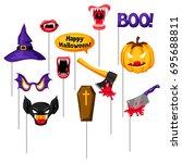 halloween photo booth props.... | Shutterstock .eps vector #695688811