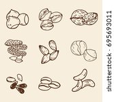 set of hand drawn nuts isolated.... | Shutterstock .eps vector #695693011