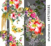 watercolor painting of leaf and ...   Shutterstock . vector #695700181