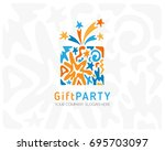 gift box logo. emblem for party ... | Shutterstock .eps vector #695703097