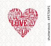 vector valentines card with... | Shutterstock .eps vector #69570691