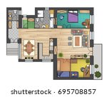 colorful floor plan of a house. | Shutterstock .eps vector #695708857