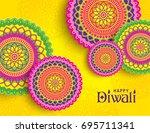 diwali festival greeting card...   Shutterstock .eps vector #695711341