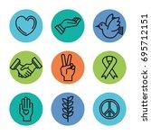 symbols peace for international ... | Shutterstock .eps vector #695712151
