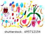 postcard on birthday with... | Shutterstock . vector #695712154