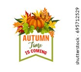 autumn time is coming poster... | Shutterstock .eps vector #695712529