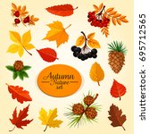 autumn leaf  fruit and berry... | Shutterstock .eps vector #695712565