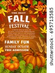 fall festival poster with... | Shutterstock .eps vector #695713585