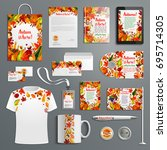 corporate identity set with... | Shutterstock .eps vector #695714305
