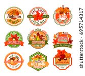 autumn label set of fall nature ... | Shutterstock .eps vector #695714317