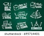 school supplies chalk sketch... | Shutterstock .eps vector #695714401