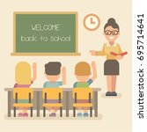 young teacher with students on...   Shutterstock .eps vector #695714641
