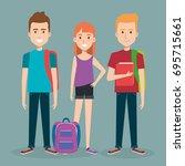 three students school standing... | Shutterstock .eps vector #695715661