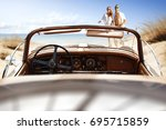 summer time on beach with two... | Shutterstock . vector #695715859