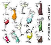 set of different glasses ... | Shutterstock .eps vector #695718049