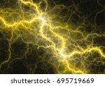 yellow lightning  abstract... | Shutterstock . vector #695719669