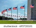 american flags near washington...   Shutterstock . vector #695720101