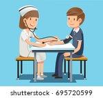 annual health check. nurse who... | Shutterstock .eps vector #695720599