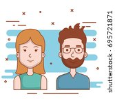 young couple avatars characters ... | Shutterstock .eps vector #695721871