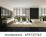 spacious bathroom with stylish... | Shutterstock . vector #695722765