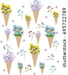 flowers in an ice cream cone... | Shutterstock .eps vector #695722789