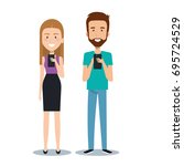 young man and woman holding... | Shutterstock .eps vector #695724529