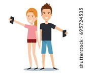 young man and woman holding... | Shutterstock .eps vector #695724535