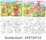 cute troll  dwarfs  dragon and... | Shutterstock . vector #695724715