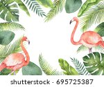 Watercolor Card Of Tropical...