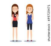 cute girls standing using their ...   Shutterstock .eps vector #695725471