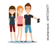 group of different young using... | Shutterstock .eps vector #695725477