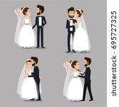 bride and groom set wedding... | Shutterstock .eps vector #695727325