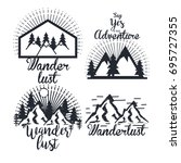 journey label set travel... | Shutterstock .eps vector #695727355