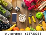 fitness concept with exercise...   Shutterstock . vector #695730355