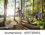 friends motivating woman...   Shutterstock . vector #695730451